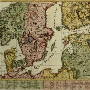 Carte De La Partie Meridionale du Royaume de Suede avec une Table des Provinces et des Villes Principales