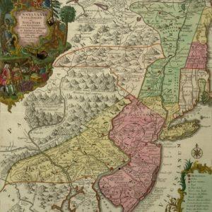 Pensylvania, Nova Jersey et Nova York cum regionibus ad Fluvium Delaware in America sitis